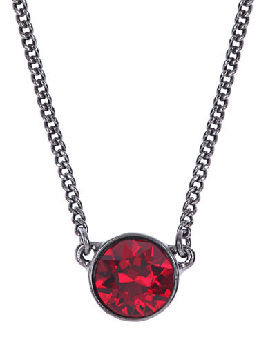 GIVENCHYHematite-Tone and Red Stone Pendant Necklace