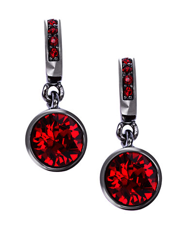GIVENCHYHematite-Tone and Red Stone Drop Earrings