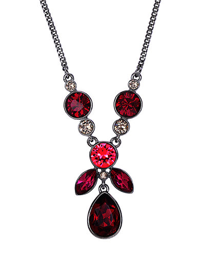 GIVENCHYLight Hematite-Tone and Mixed Red Stone Pendant Necklace