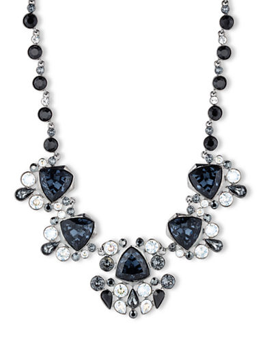 GIVENCHY Hematite-Tone and Multi-Color Austrian Glass Cluster Frontal Necklace