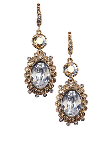 GIVENCHYGold Tone and Crystal Double Drop Earrings