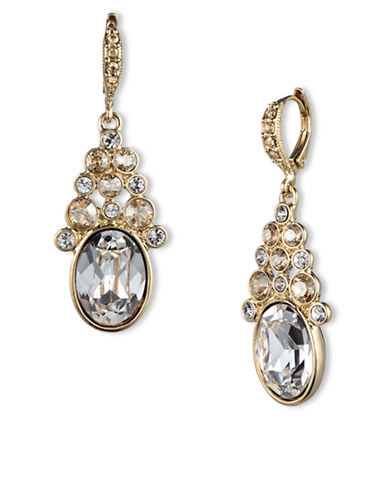 GIVENCHYGold Tone and Clustered Crystal Drop Earrings