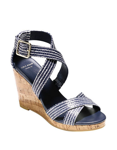 Cole Haan Jillian Snake Embossed Leather Wedge Sandals