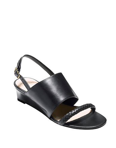 COLE HAAN Lise Leather Wedge Sandals