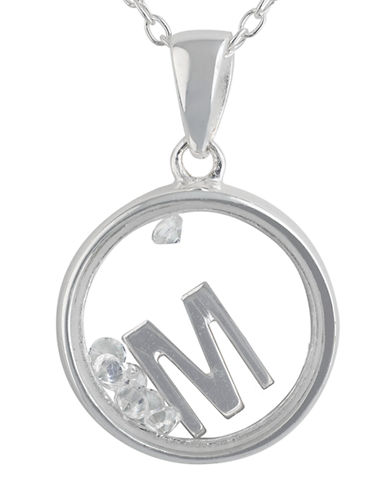 LORD & TAYLOR Sterling Silver and Cubic Zirconia M Pendant Necklace