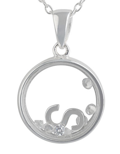 LORD & TAYLOR Sterling Silver and Cubic Zirconia S Pendant Necklace