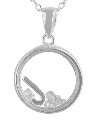 LORD & TAYLOR Sterling Silver and Cubic Zirconia J Pendant Necklace