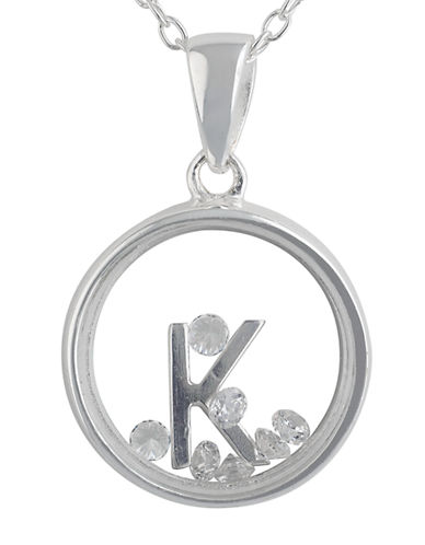 LORD & TAYLOR Sterling Silver and Cubic Zirconia K Pendant Necklace