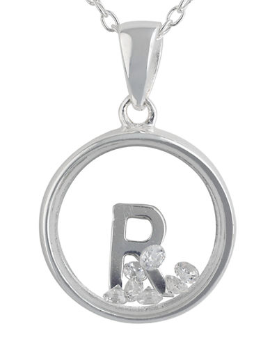 LORD & TAYLOR Sterling Silver and Cubic Zirconia R Pendant Necklace