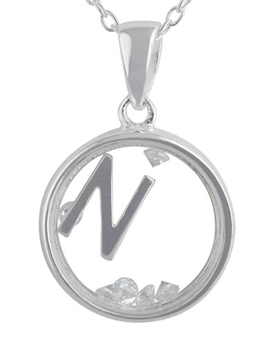 LORD & TAYLOR Sterling Silver and Cubic Zirconia N Pendant Necklace