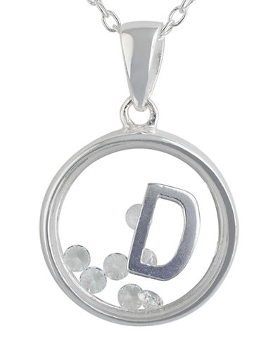 LORD & TAYLOR Sterling Silver and Cubic Zirconia D Pendant Necklace