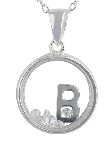 LORD & TAYLOR Sterling Silver and Cubic Zirconia B Pendant Necklace