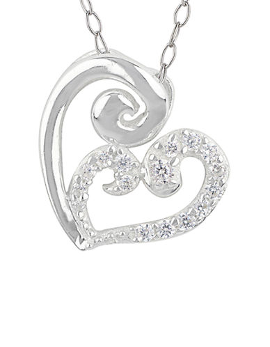 LORD & TAYLOR Sweet Sterling Silver and Glitz Heart Pendant Necklace