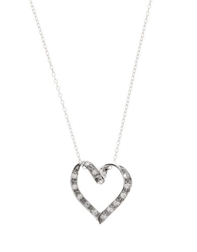 LORD & TAYLORSterling Silver And Cubic Zirconia Open-Heart Pendant Necklace