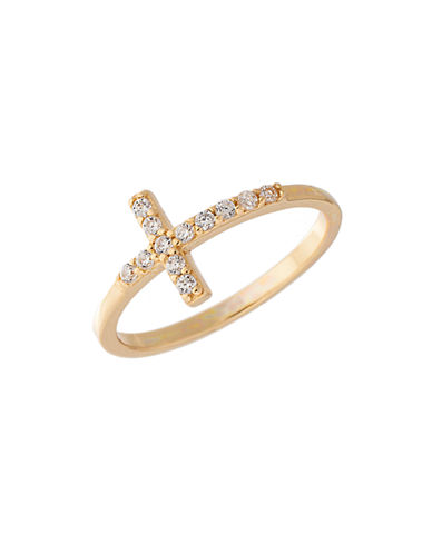 LORD & TAYLOR Gold-Tone Sterling Silver Cross Ring with Crystal Embellishments