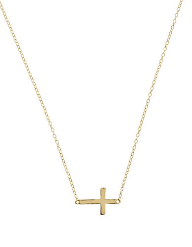 LORD & TAYLOR18Kt Gold Over Sterling Silver Sideways Cross Necklace