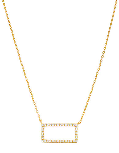 LORD & TAYLOR Gold-Tone Cubic Zirconia Rectangle Pendant Necklace