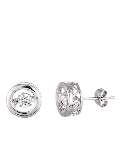 LORD & TAYLOR Sterling Silver and Cubic Zirconia Round Heartbeat Earrings