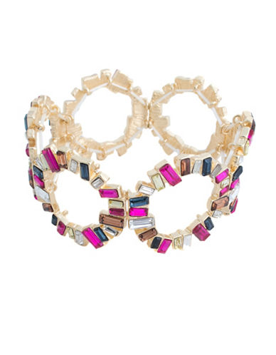 Faceted Glass Cluster O Ring Stretch Bracelet