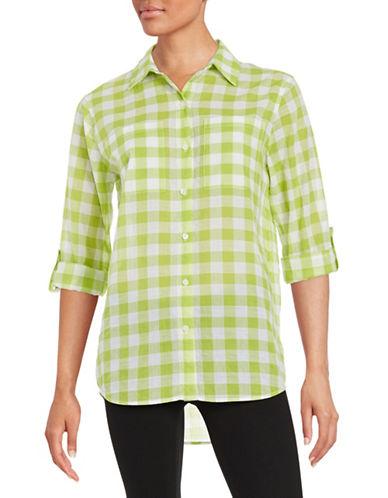 Plus Gingham Button-Front Shirt plus size,  plus size fashion plus size appare