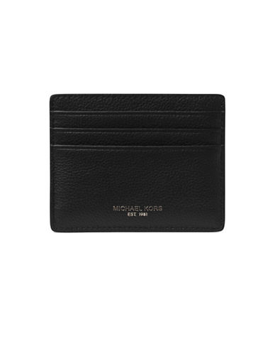 michael kors male bryant pebbled leather tall card case