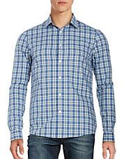 Men Casual Button Down Shirts Plaid Cotton Sportshirt