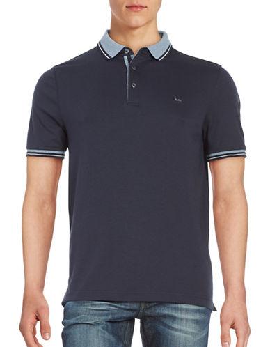 michael kors male stripetrimmed polo shirt