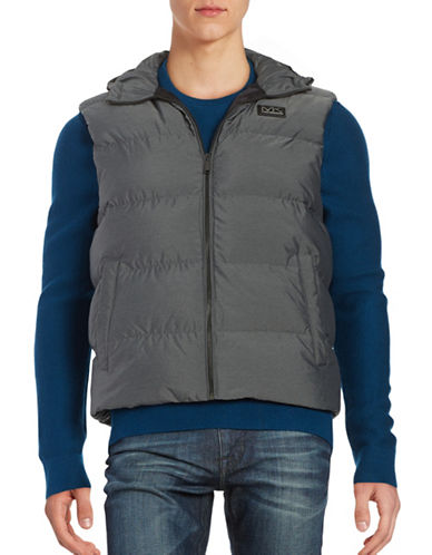 michael kors male melange down hooded vest
