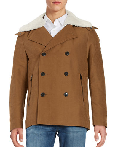 michael kors male shearling and coyote fur trimmed coat