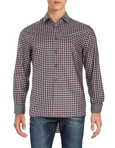 michael kors male 215965 tailored fit cotton plaid sportshirt