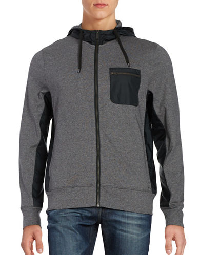michael kors male woven stretch zip front athleisure hoodie