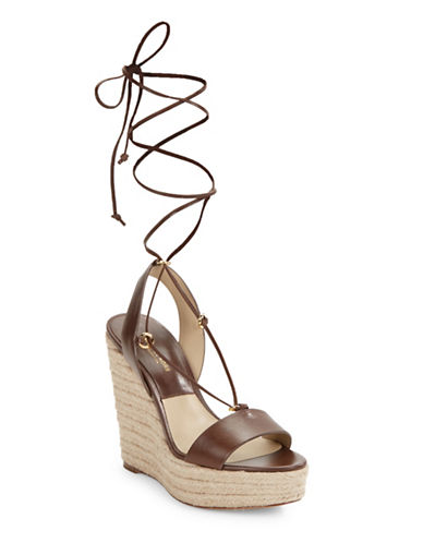 michael kors female  clive leather wedge espadrille sandals