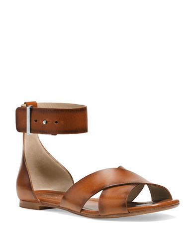 michael kors female 211468 robbie vachetta leather flat sandals
