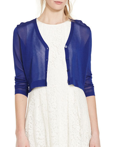 ralph lauren female 236621 threequartersleeve vneck cropped cardigan