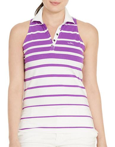 ralph lauren female 268078 plus striped sleeveless polo shirt