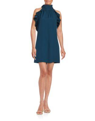 RACHEL ZOE Halter Ruffled A-Line Dress