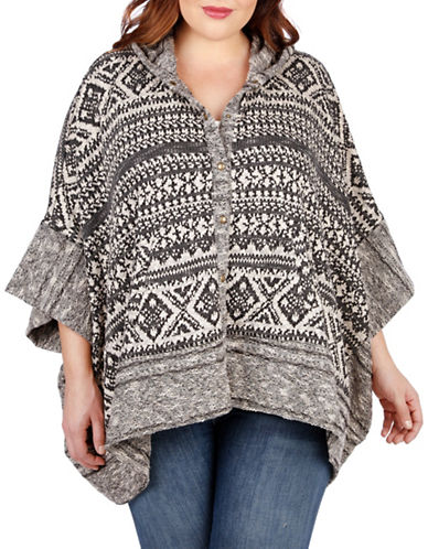 Plus Button Front Hooded Sweater plus size,  plus size fashion plus size appare