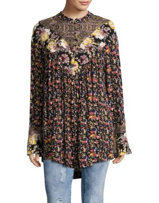 Mixed Print Wildflower Fields Tunic Top