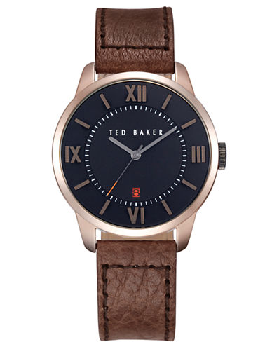 TED BAKERMens Rose Gold Tone and Textured Leather Watch