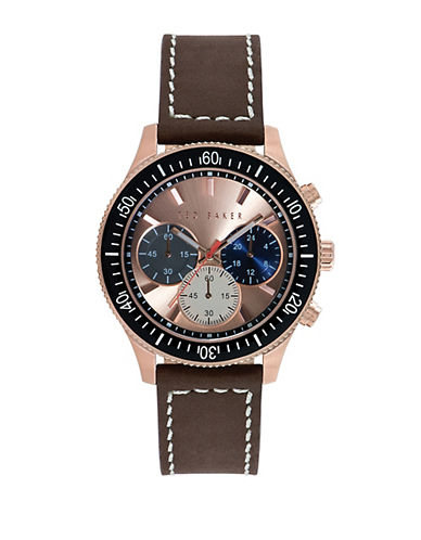 TED BAKER Mens Rose Gold Tone Watch with Multi Color Chronograph Dial
