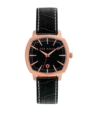 TED BAKERMens Rose Gold Tone Square Watch with Leather Strap