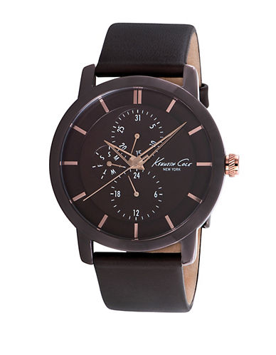 KENNETH COLEMens Brown Ion-Plated Round Watch with Rose Gold-Tone Accents