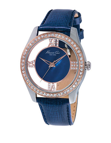 KENNETH COLELadies Two Tone Glitz Watch with Transparent Dial