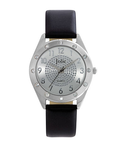 JOLIELadies Silver Tone Watch with Crystal Dial and Leatherette Strap