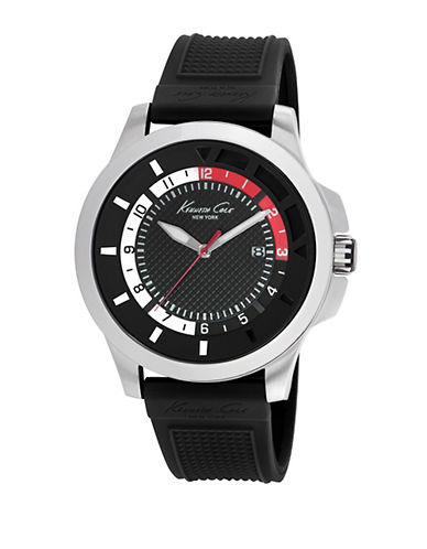 KENNETH COLEMens Transparent Stainless Steel and Silicone Strap Watch