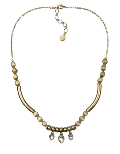 SAM EDELMANGold Tone Tube and Crystal Collar Necklace