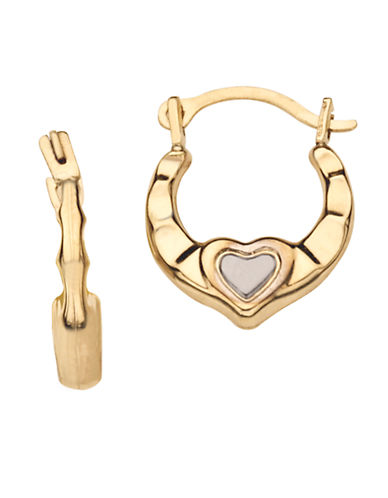 LORD & TAYLOR 14K White and Yellow Gold Baby Hoop and Heart Earrings