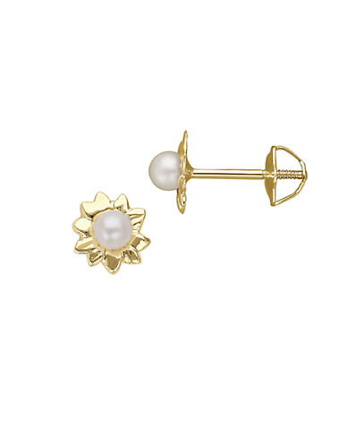 LORD & TAYLOR 2.5MM White Pearl and 14K Yellow Gold Flower Stud Earrings
