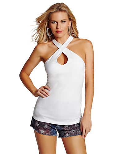 GUESS Halter Keyhole Top