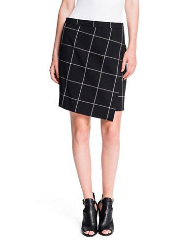 1 STATEAsymmetrical Windowpane Wrap Skirt